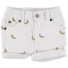 Pantaloncino bianco con stampa banane gialle e nere