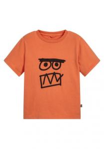 T-Shirt arancione con stampa faccia nera