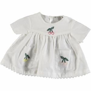 Vestito bianco con ricamo ciliegie multicolore