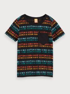 T-Shirt nera con stampa scritte multicolore