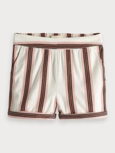 Pantaloncino panna a righe rosa, marroni e blu