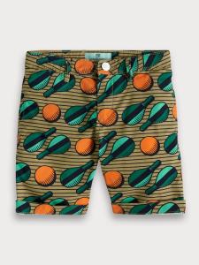 Pantaloncino marrone con stampe racchette verdi e palline arancioni