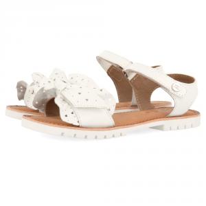 Sandali bianchi con fiocco e suola bianchi
