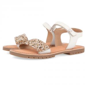 Sandali bianchi con paillettes oro