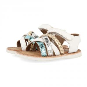 Sandali bianchi con strisce turchese, argento e oro