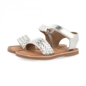 Sandali argento con suola marrone e velcro