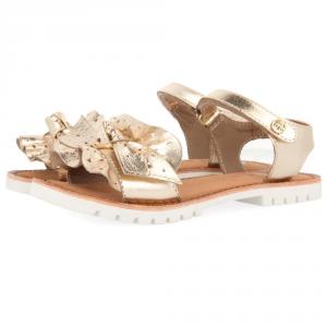Sandali oro con fiocco e suola bianca