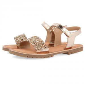 Sandali platino con paillettes oro