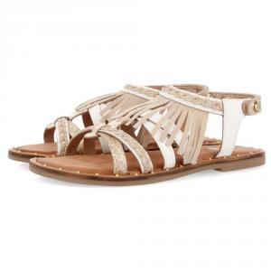 Sandali bianchi con frange e dettagli oro