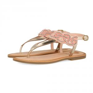 Sandali corallo con paillettes argento