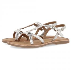 Sandali argento con suola marrone e fibbia