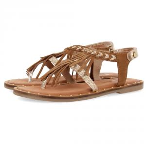 Sandali cuoio con frange e dettagli oro