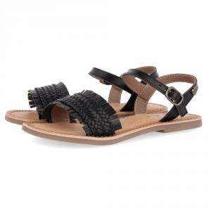 Sandali neri con suola marrone e fibbia