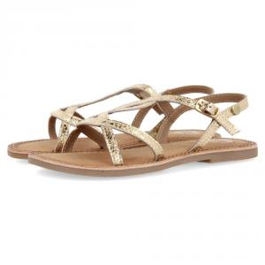 Sandali platino con suola marrone e fibbia