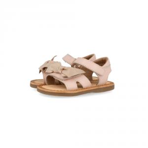 Sandali rosa con fiocco, suola marrone e velcro