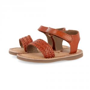 Sandali cuoio con suola marrone e velcro