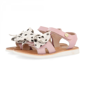 Sandali rosa con fiocco bianco a pois neri