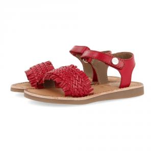 Sandali rossi con suola marrone