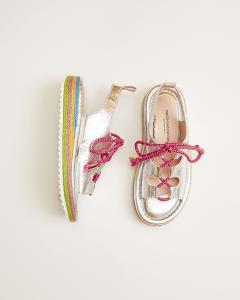 Sandali argento con lacci rosa e suola multicolore