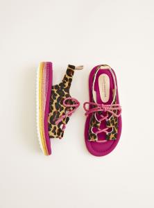 Sandali leopardati con lacci rosa e suola multicolore