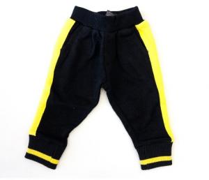 Pantalone di tuta nero con bande e scritta gialle