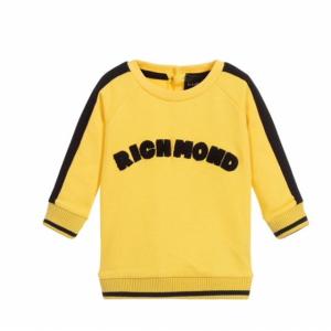 Maglione giallo con bande e scritta nere