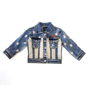 Giubbotto di jeans con stelle e strisce beige