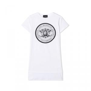T-Shirt bianca con stampa e paillettes nere