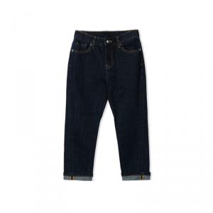 Jeans blu scuro con stampa scritta bianca