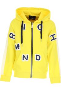Felpa gialla con toppe lettere blu e bianche