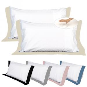 Coppia Cuscini con Elegante Set di 4 Fodere GRATIS in Morbido Cotone Bianco + Balza Beige, 2 Guanciali 100% Memory Foam per dolori CERVICALI in Schiuma Ergonomica ANTIACARO