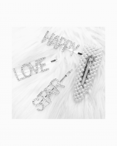 mollette per capelli con frase love happy star in  strass o perle