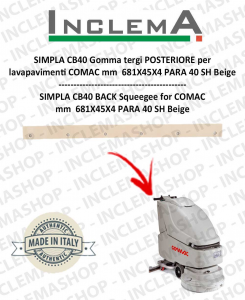 SIMPLA CB40 Back Squeegee Rubber for Scrubber Dryer COMAC