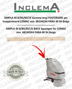 SIMPLA 45 B/BS/BST/E Back Squeegee Rubber for Scrubber Dryer COMAC