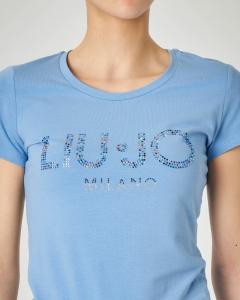 T-shirt azzurra maniche corte con logo in strass applicati