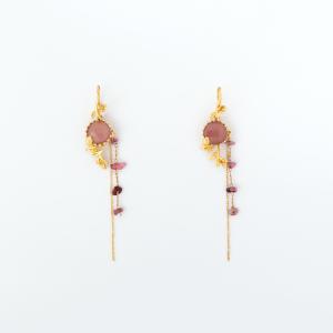 Orecchini pendenti floreali in ottone galvanizzato