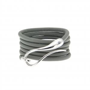 Bracciale in argento 925 e cinturino in pelle intercambiabile
