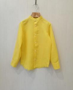 Camicia gialla con colletto coreano