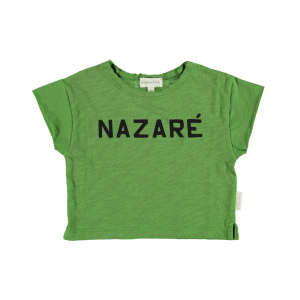 T-Shirt verde con stampa scritta nera