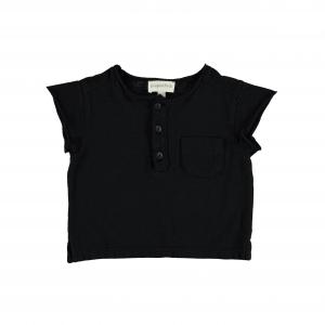 T-Shirt nera smanicata con taschino