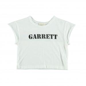 T-Shirt bianca con stampe scritta nera e arcobaleno