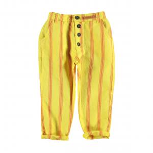 Pantalone giallo a righe rosse con vita elasticizzata