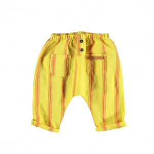 Pantalone giallo a righe rosse