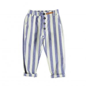 Pantalone a righe blu e bianche