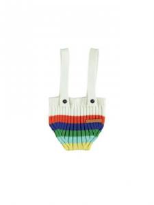 Pantaloncino bianco con bretelle e arcobaleno