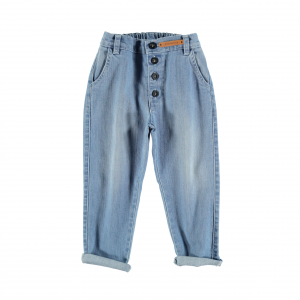 Jeans celeste chiaro con chiusura a bottoni