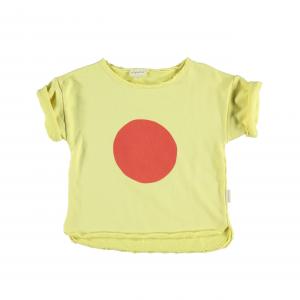 Felpa gialla con stampa cerchio rosso