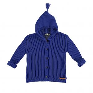 Cardigan blu con cappuccio e bottoni