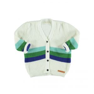 Cardigan bianco con righe celesti, verdi e blu