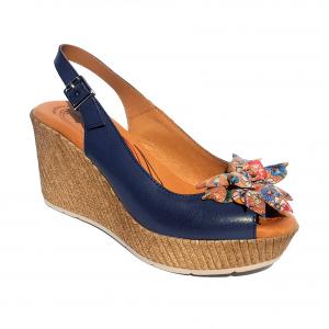 Sandalo blu con fiore Raquel Perez